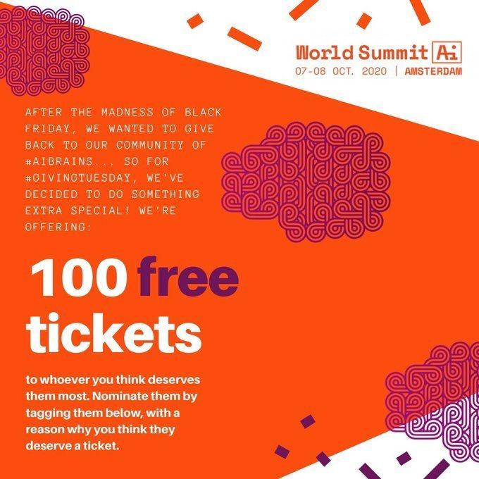 World Summit AI 2020 - WSAI Give Away 100 Free Tickets.